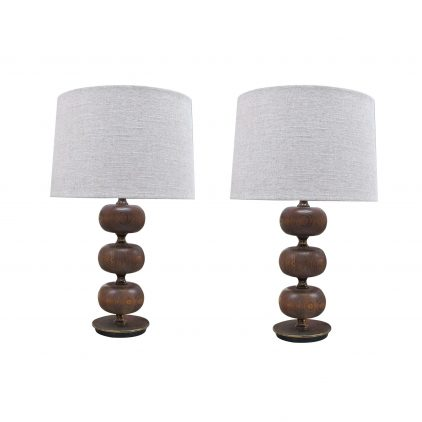 pair wood lamps