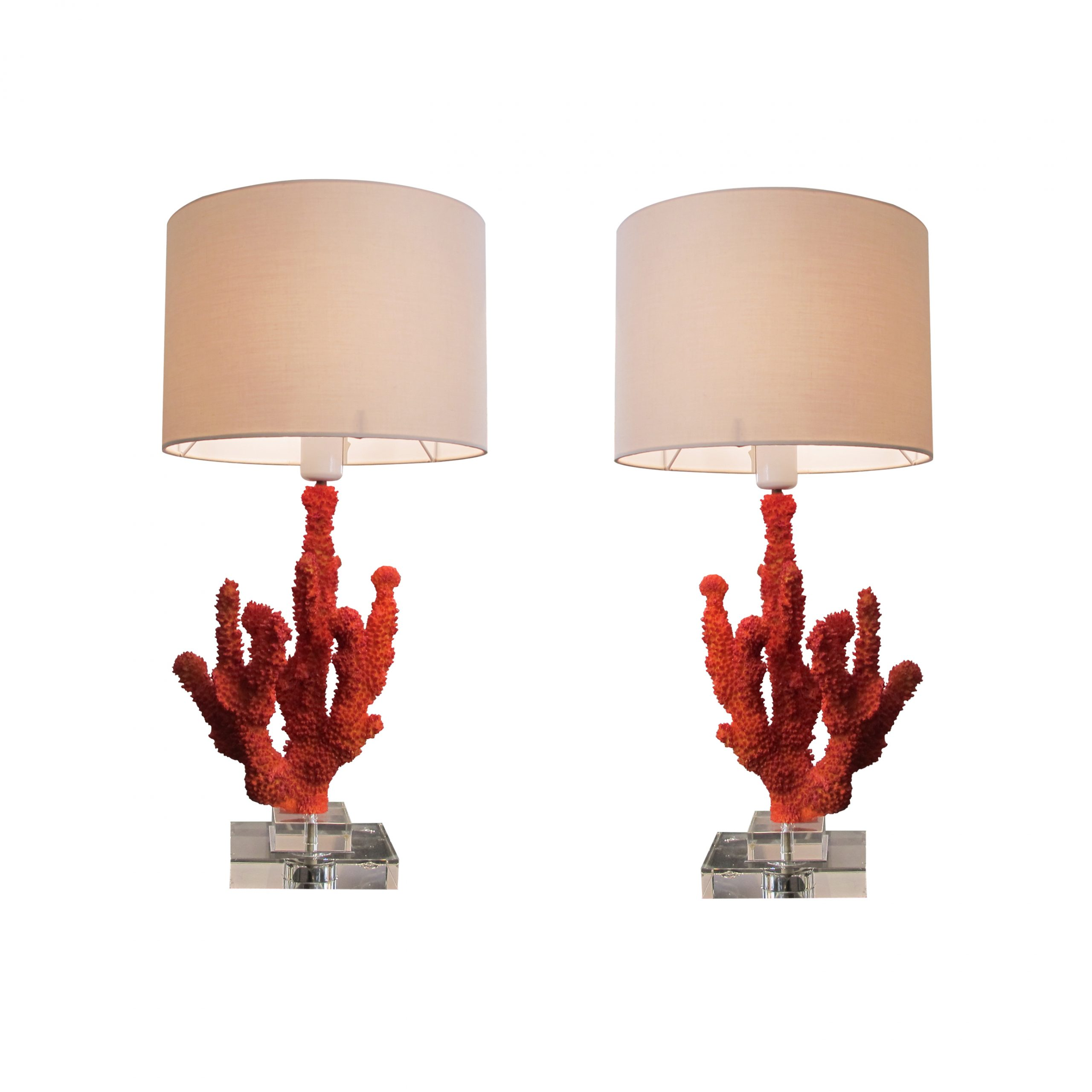 A pair of resin red coral table lamps